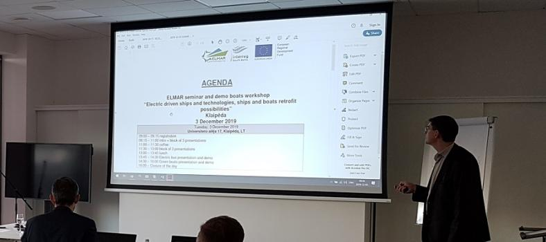 "ELMAR seminar and demo boats workshop ""Electric driven ships and technologies, ships and boats retrofit possibilities"", Klaipeda (LT), 3 December 2019"